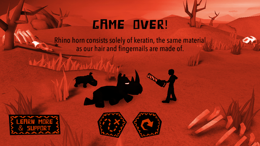 On the game over screen, you will read about the issues rhinos are facing.